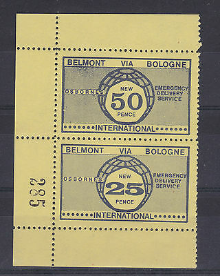 1971 STRIKE MAIL OSBORNE BELMONT VIA BOLOGNE 25p & 50p NAVY ON YELLOW MNH (a)