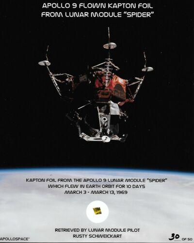 """APOLLO 9 FLOWN LUNAR MODULE """"SPIDER"""" KAPTON FOIL ON PHOTO PRESENTATION #30/50"""