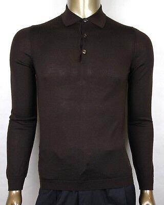 Gucci Herren Dunkelbraun Kaschmir Langärmeliges Polohemd Pullover 244900 2060