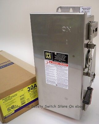 Square D 316 Stainless Hu361ss 30a 600v Nonfused Safety Switch 41 Available New