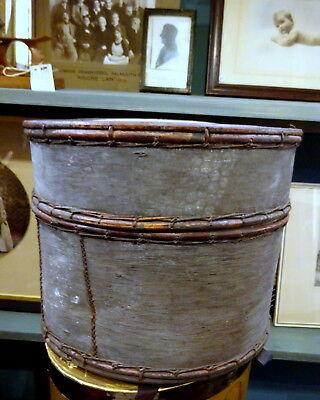 Antique Asian Bentwood & Bamboo Bentwood Cylinder Box