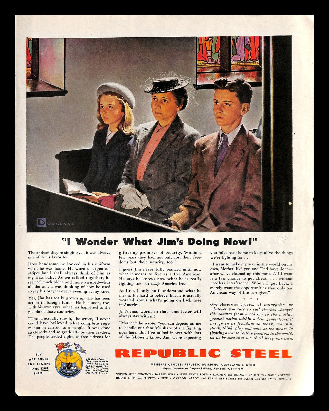 1944 Republic Steel Vintage Print Ad Church Service Ww2 Bonds Douglass Crockwell Ebay