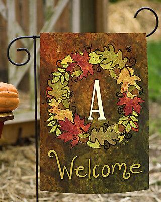Toland Fall Wreath Monogram 12.5 x 18 Autumn Welcome Initial Garden Flag