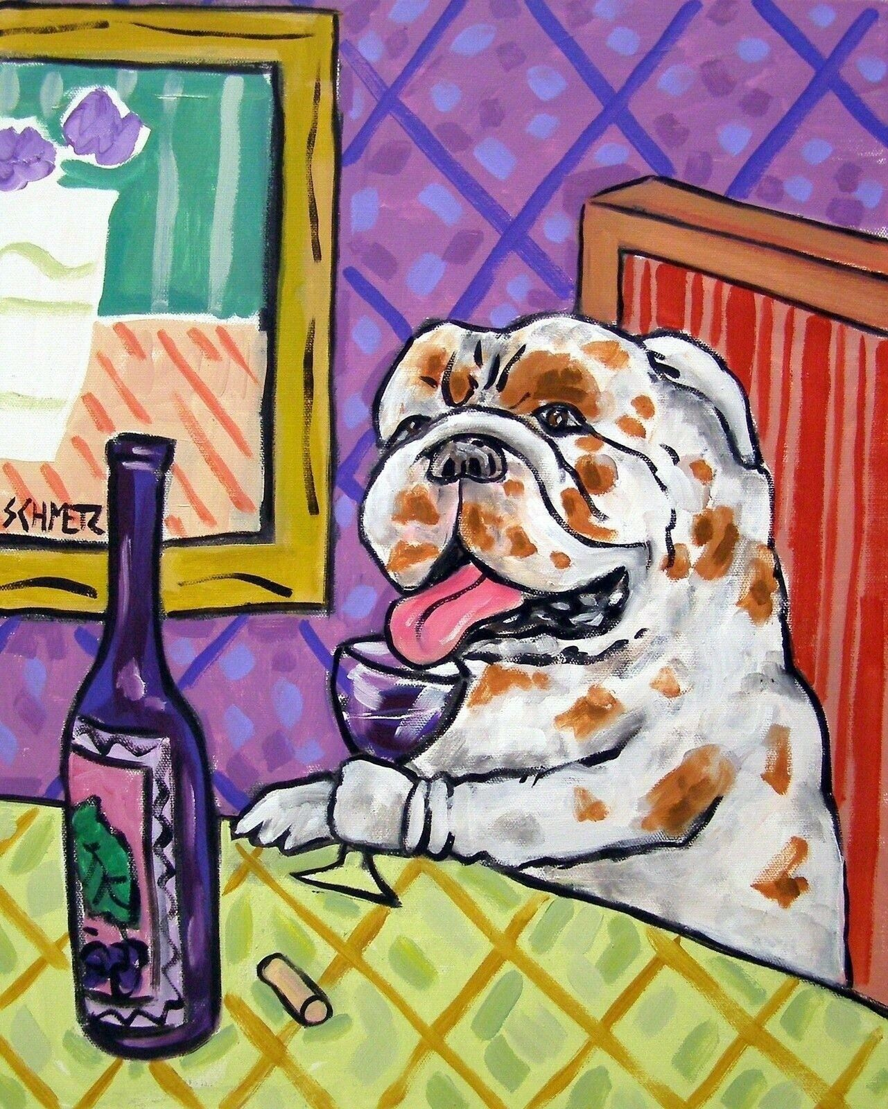 BULLDOG art  ABSTRACT POP painting 4x6  dog picture gift  new wat GLOSSY PRINT