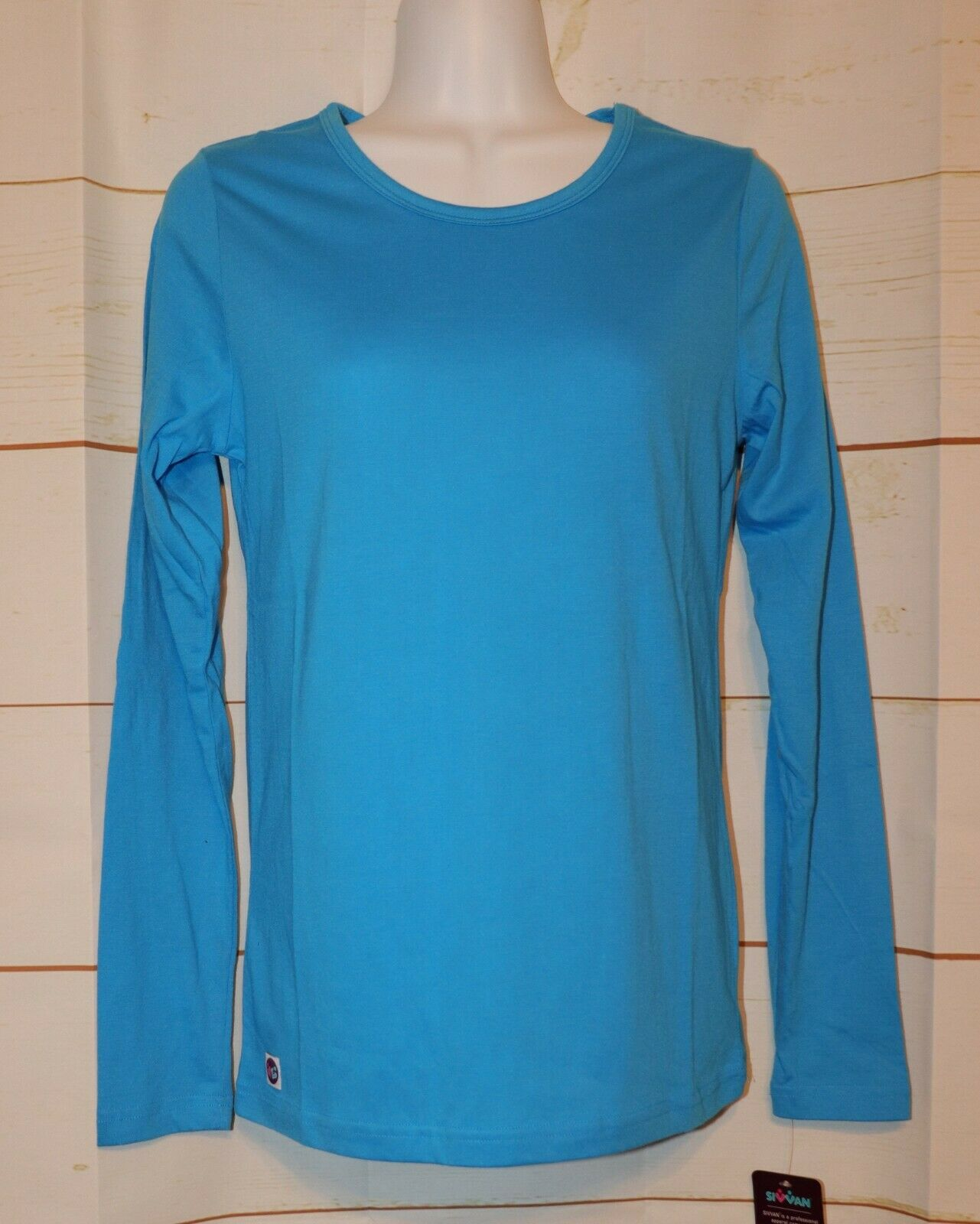 Womens Pool Blue Sivvan Long Sleeve Tee Shirt Size Small NEW
