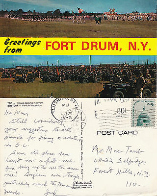 US 1976 DUAL VIEWS OF THE MILITARY AT FORT DRUM NY COLOUR POSTCARD