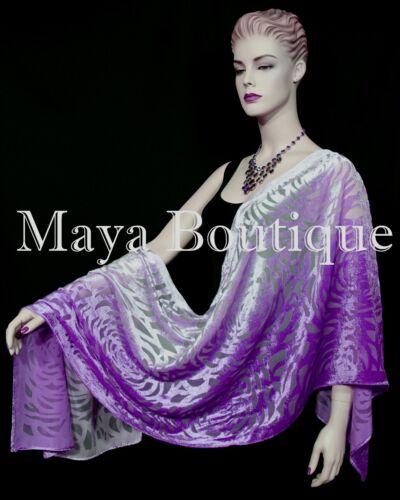 Maya+Matazaro+Hand+Dyed+Violet+Ombre+Camellia+Shawl+Wrap+Scarf+Burnout+Velvet+