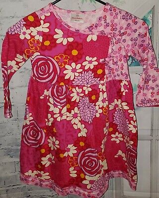 HANNA ANDERSSON 110 Girls Size 5, Pink & Purple Floral Dress Long Sleeves