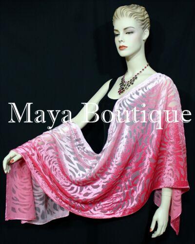 Maya+Matazaro+Hand+Dyed+Coral+Pink+Camellia+Shawl+Wrap+Scarf+Burnout+Velvet+USA