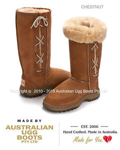 NEW 100% Australian Sheepskin HIKING Sole Lace UP Ugg Boots - Great for Camping!
