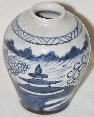 Chinese Early Qing (1700s) Blue and White River Temple Design Porcelain Jar