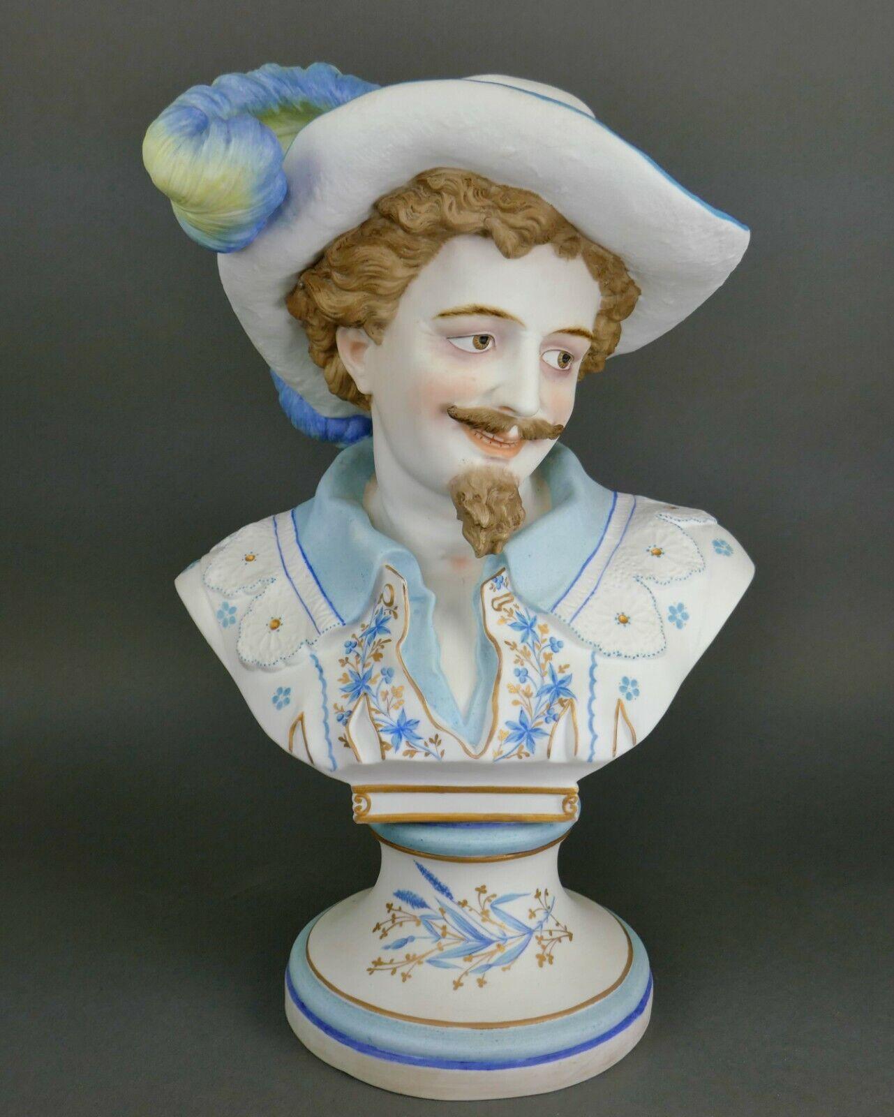 Fine Antique French Samson Bisque Porcelain Bust Of King Louis XIII Sculpture - $11.50