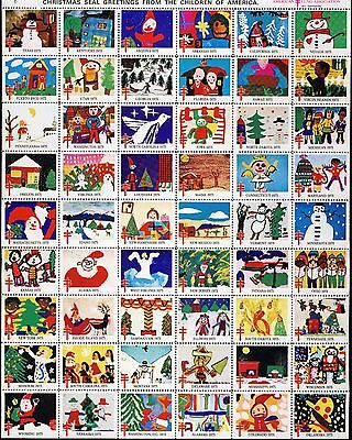 1975 USA Christmas Seal, Children's Drawings . Sheet of 54 . Mint Never Hinged