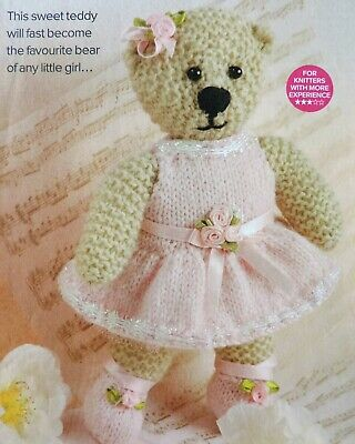 "BALLERINA BEAR Knitting Pattern Photocopy To Make a Little TOY TEDDY 8"" Tall DK"