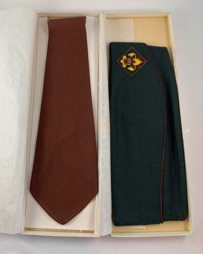 Vintage Boy Scout BSA Official Necktie and Garrison Hat sz Med. Self Conforming
