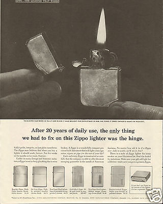 1958 Zippo The Lighter That Works for a Lifetime LARGE Print Ad