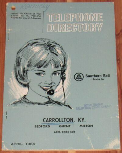 1965 KENTUCKY TELEPHONE DIRECTORY, CARROLLTON, BEDFORD, GHENT, MILTON