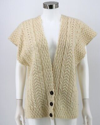 Connemara Knitwear Ireland Wool Sweater Large Ivory Cable Knit Cardigan Womens
