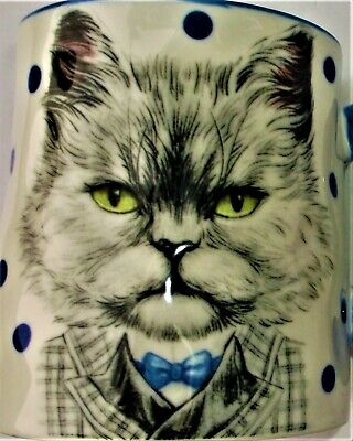 Animals In A Suit (CAT in a SUIT STRAWBERRY STREET COFFEE MUG COLLECTIBLE CUP WHITE BLUE BLACK)