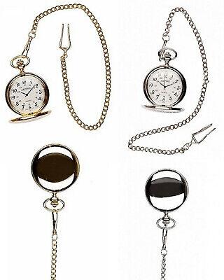Alpine Men's Plain Polished Pocket Watch Pendant with Chain Analog Quartz ()