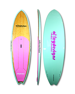 Stand up paddle board SUP ladies bamboo mint pink Alleydesigns Currumbin Waters Gold Coast South Preview
