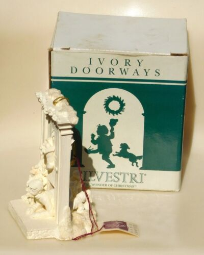 MIB VTG Boy Dog Doggie Door Pet Flap Ivory Doorways Xmas Ornament Silvestri