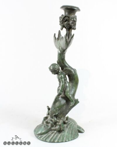 Grand Tour Roman Bronze Boy / Eros / Dolphin / Octopus / Shell Candlestick
