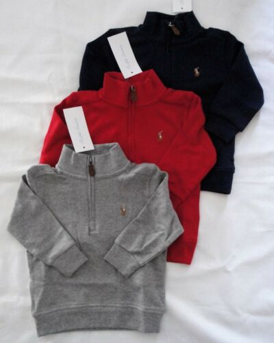 NWT Ralph Lauren Infant Boys Cotton Half Zip Pullover Shirt Sz 12m 18m 24m NEW