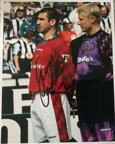 Eric Cantona & Peter Schmeichel signed Manchester United photo image B AFTAL