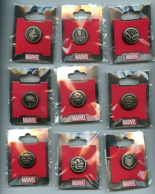 WDI Disney Marvel Avengers Guardians Emblem LE 500 Pewter 15 Pin Set COMPLETE