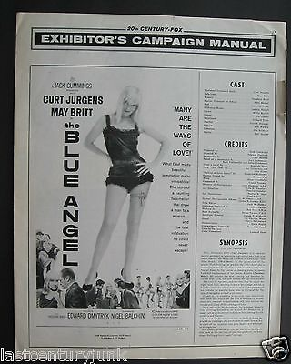 20th Century Fox Publicity Release For Blue Angel 1959 Curt Jurgens, May Britt