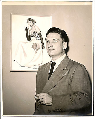 1940s-1950s occupational photo, advertising art womens fashion style male artist