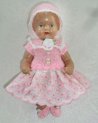3-tlg Set Outfit Bekleidung Kleid Mütze SK Strampelchen  Baby  Puppen 16 - 18 cm
