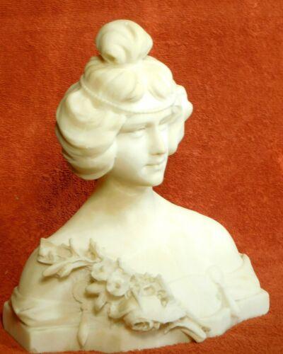 Antique Italian Alabaster Portrait Bust Sculpture Pretty Woman Art Nouveau Lady