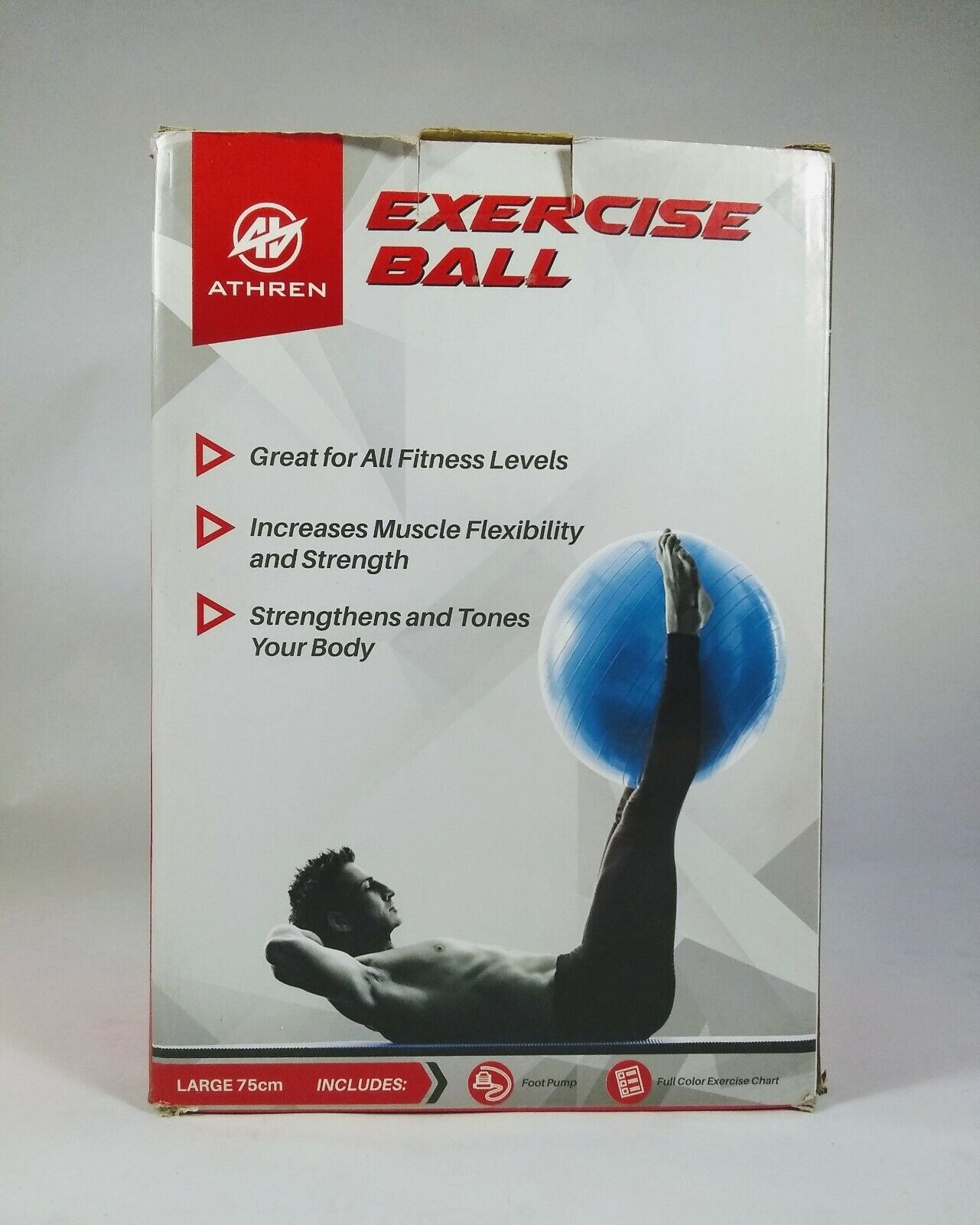 exercise ball large 75cm blue with foot
