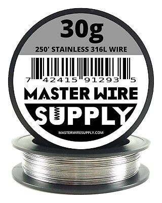 Mws - Ss 316l - 250 Ft. 30 Gauge Awg Stainless Steel Resistance Wire 30g 250
