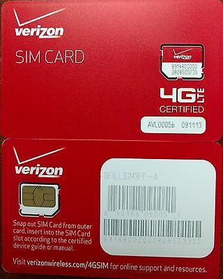 VERIZON MICRO SIM CARD 4G LTE -  Prepaid or PostPaid - Broadband  NEW
