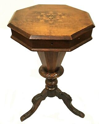 c. 1840-60's Continental Walnut Trumpet Sewing Table with -