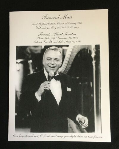 Rare / Authentic Frank Sinatra Official 1998 Funeral Mass Program