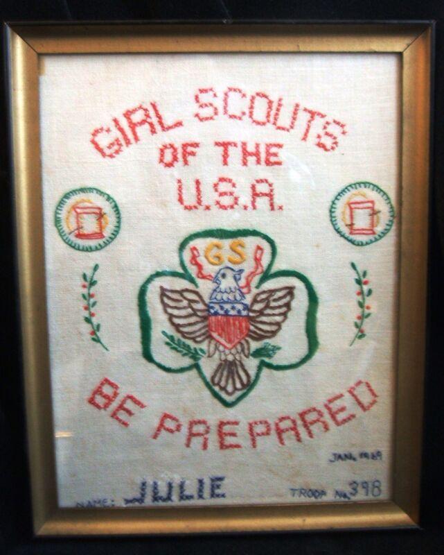 Vintage Girl Scout Completed Framed Embroidered Handiwork For Embroidery Badge