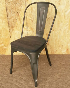 new tolix metal chairs tarnished colour paint u0026 wooden seat retro french bistro