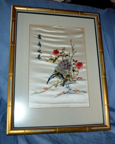 Antique Large Framed Chinese Embroidered Silk-work Picture Birds/Blossom