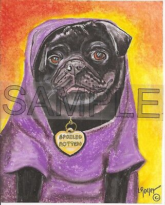 PUG DOG ORIGINAL CHARCOAL DRAWING BY L ROYER #750 BIOGRAPHY & C OF A INCLUDED