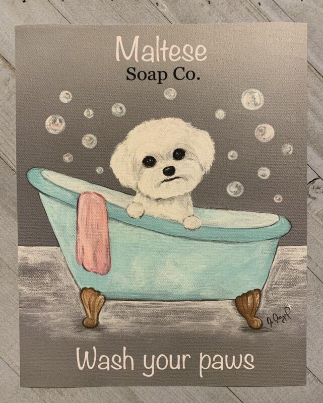 MALTESE PRINT from Painting art Dog 8x10 Laundry Bathroom