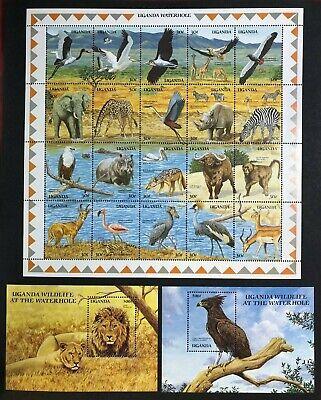 Uganda - 1989 - Wildlife at a Waterhole - Mini Sheet  - Unmounted Mint.