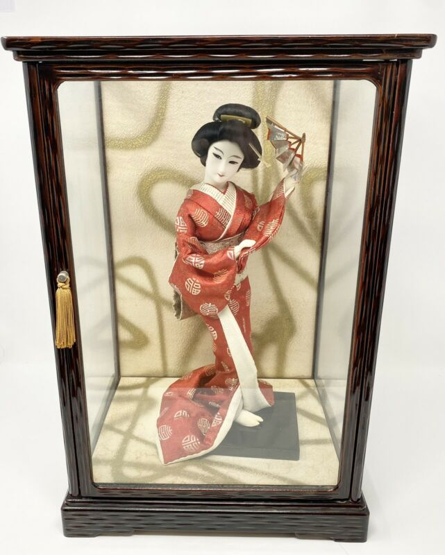 Vintage Japanese Geisha Doll Red Silk Kimono With Fan in Glass Display Case 1966