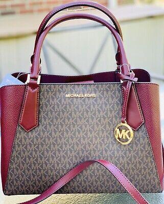 Michael Kors Kimberly Merlot Brown MK Signature LARGE Satchel  Tote Shoulder Bag