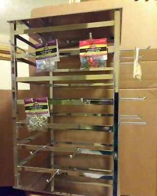 """4 WAY SPINNING JEWELRY TOWER RACK METAL STAND 12"""" x 12"""" with 24 HOOKS NEW"""