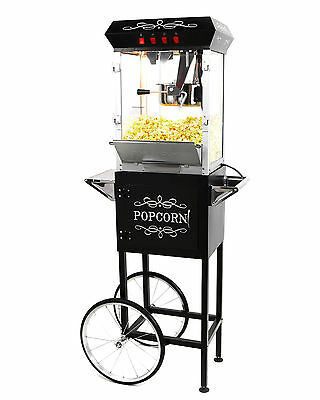الة صنع الفشار جديد Paramount 8oz Popcorn Maker Machine & Cart – New Upgraded 8 oz Popper [Black]