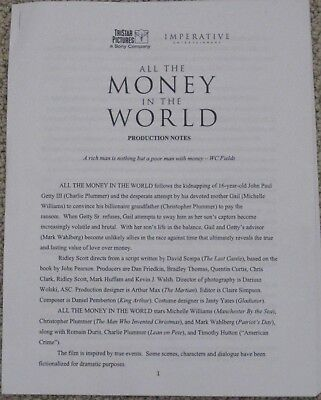 ALL THE MONEY IN THE WORLD 2017 OFFICIAL MOVIE PRODUCTION NOTES RIDLEY SCOTT